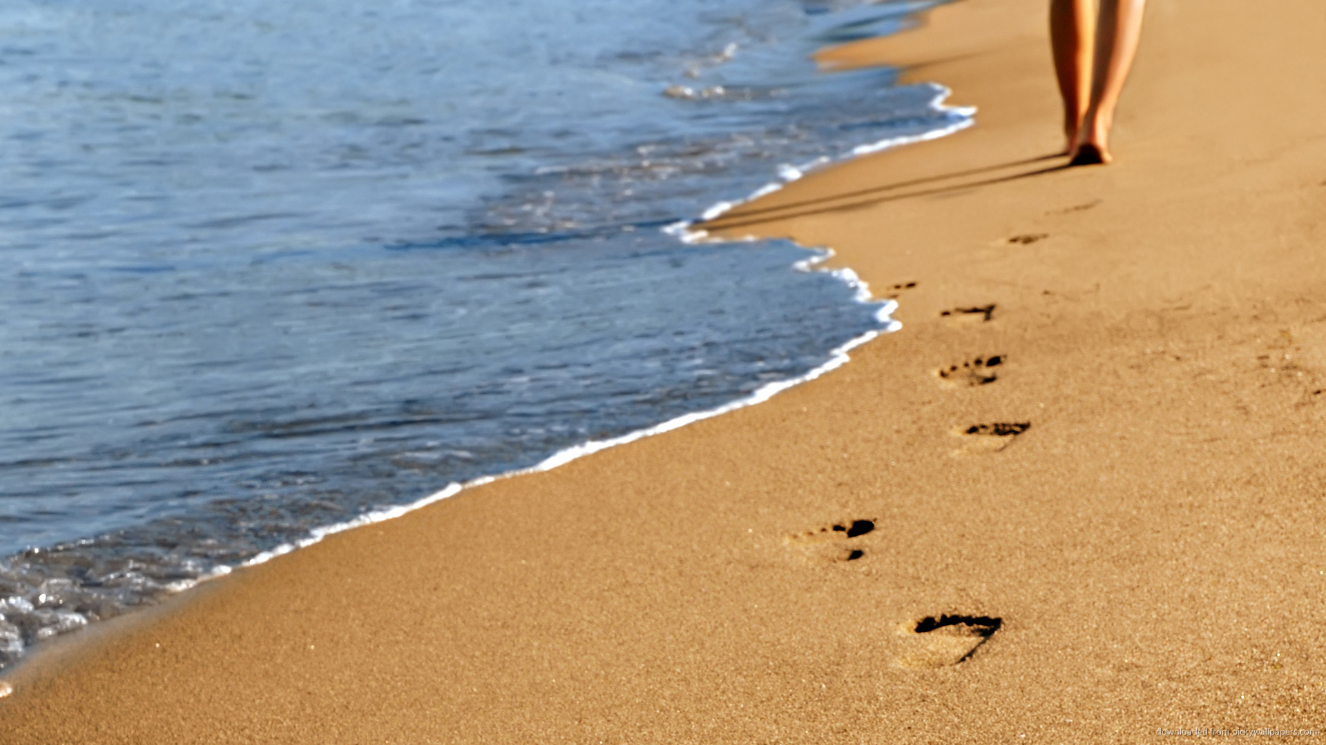 Beautiful Beach Footprints Wallpaper Picture For iPhone Blackberry 1920x1080