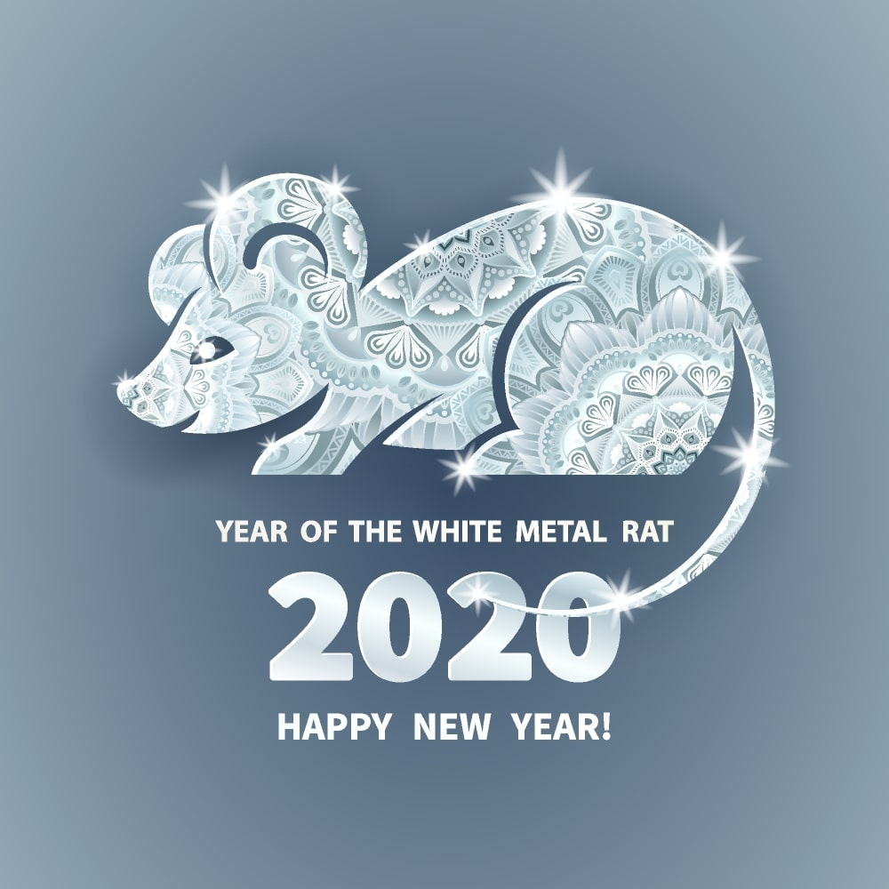 Happy chinese new year 2020 Zodiac sign year of the rat This 1000x1000