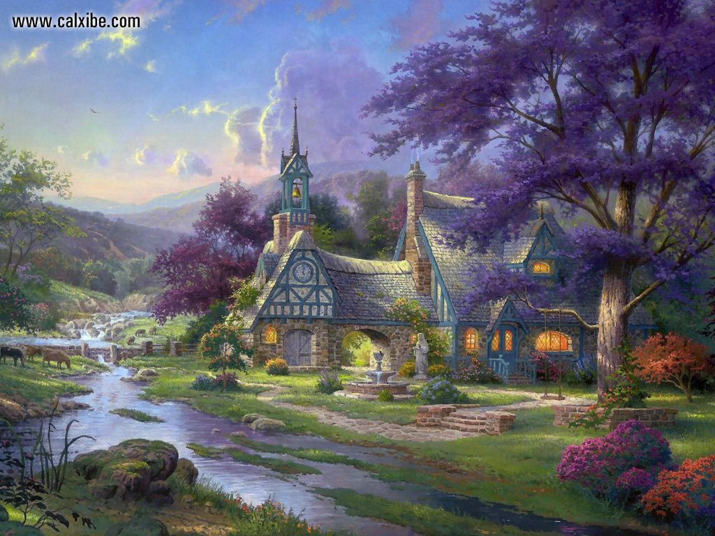 Thomas Kinkade Clocktower Cottage Drawing Painting 1024x768