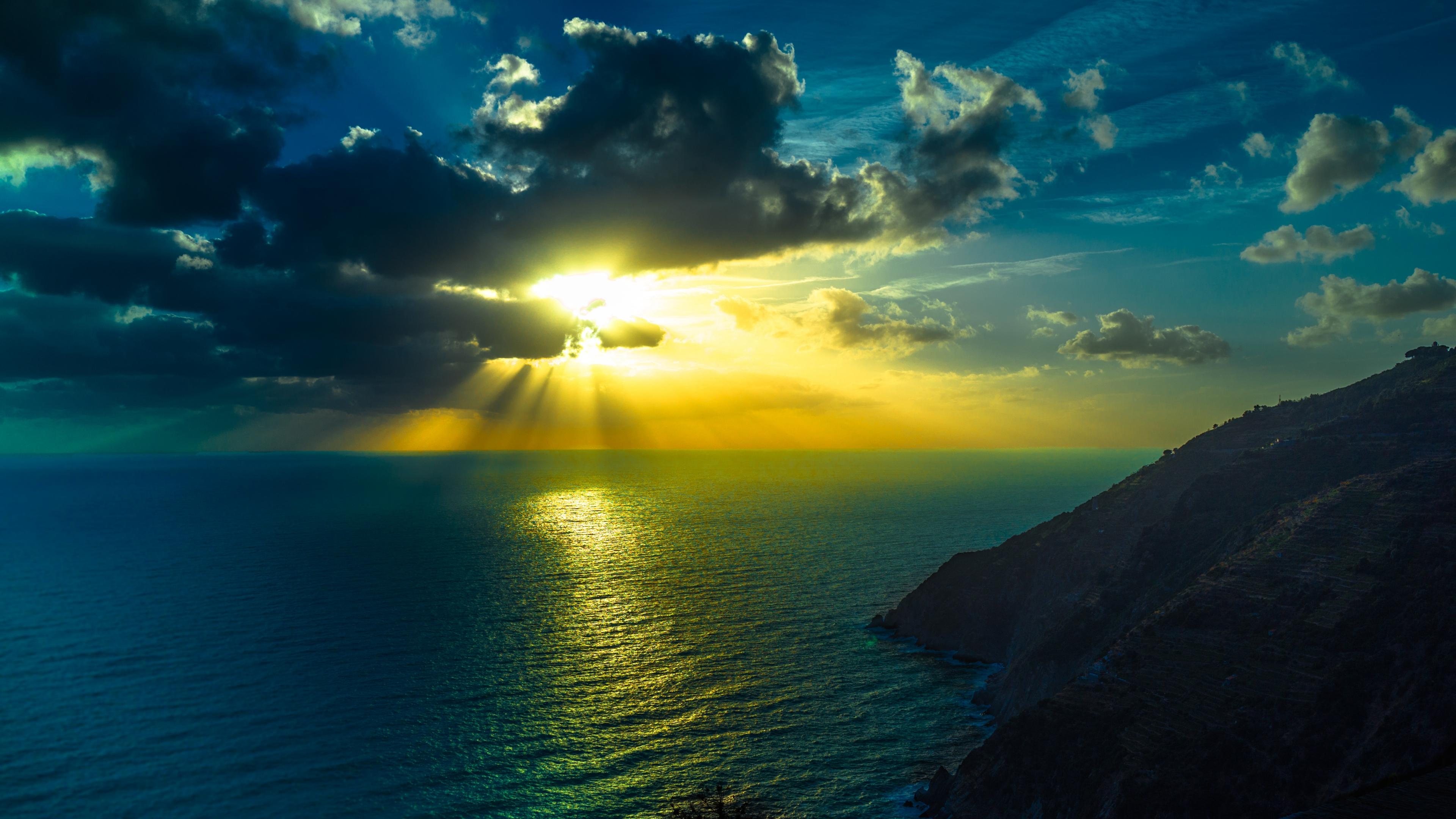 Ultra HD Wallpaper 38402160 mountains sea ocean clouds night 4K 3840x2160