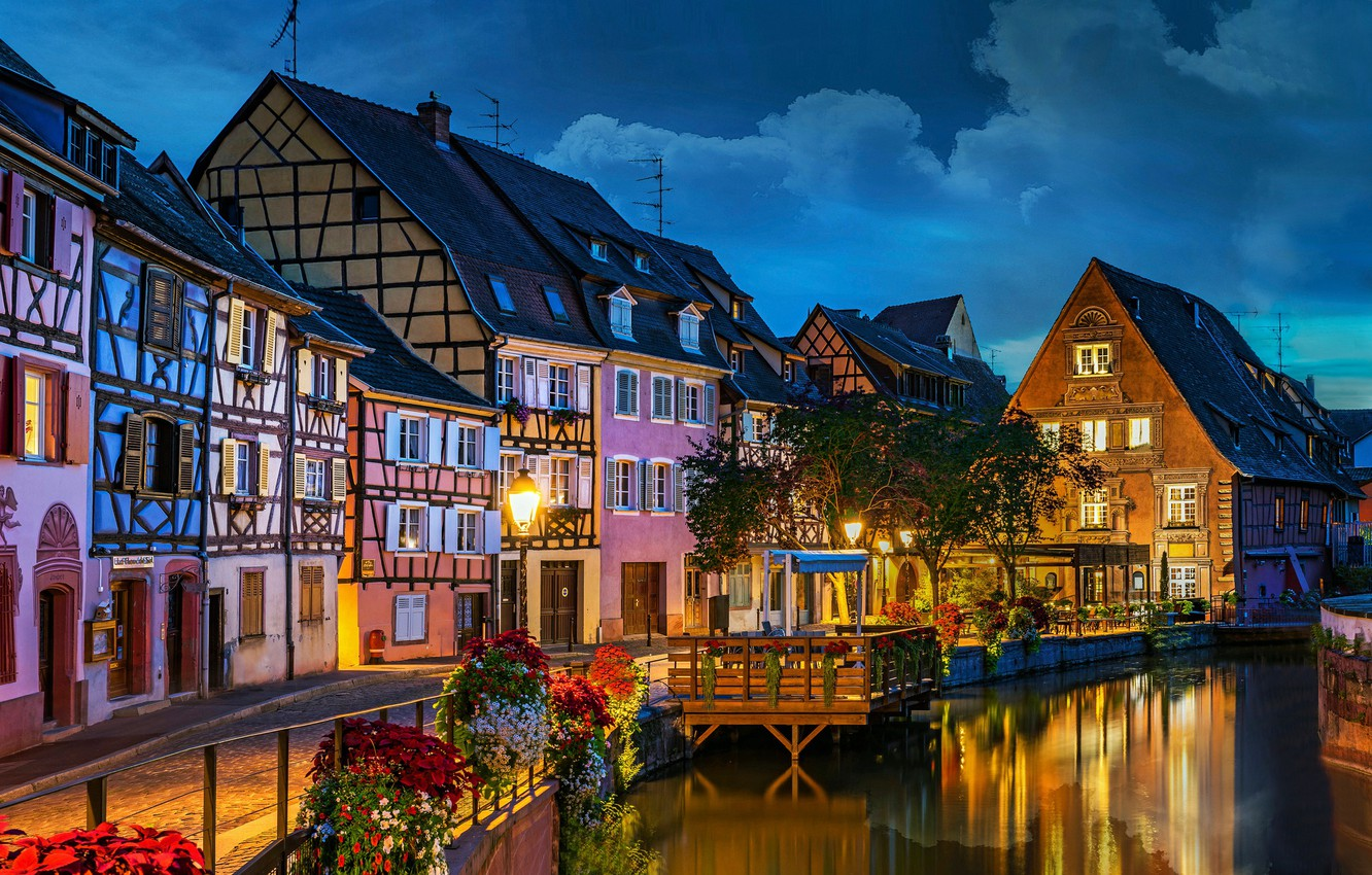 Wallpaper flowers river France building home the evening 1332x850