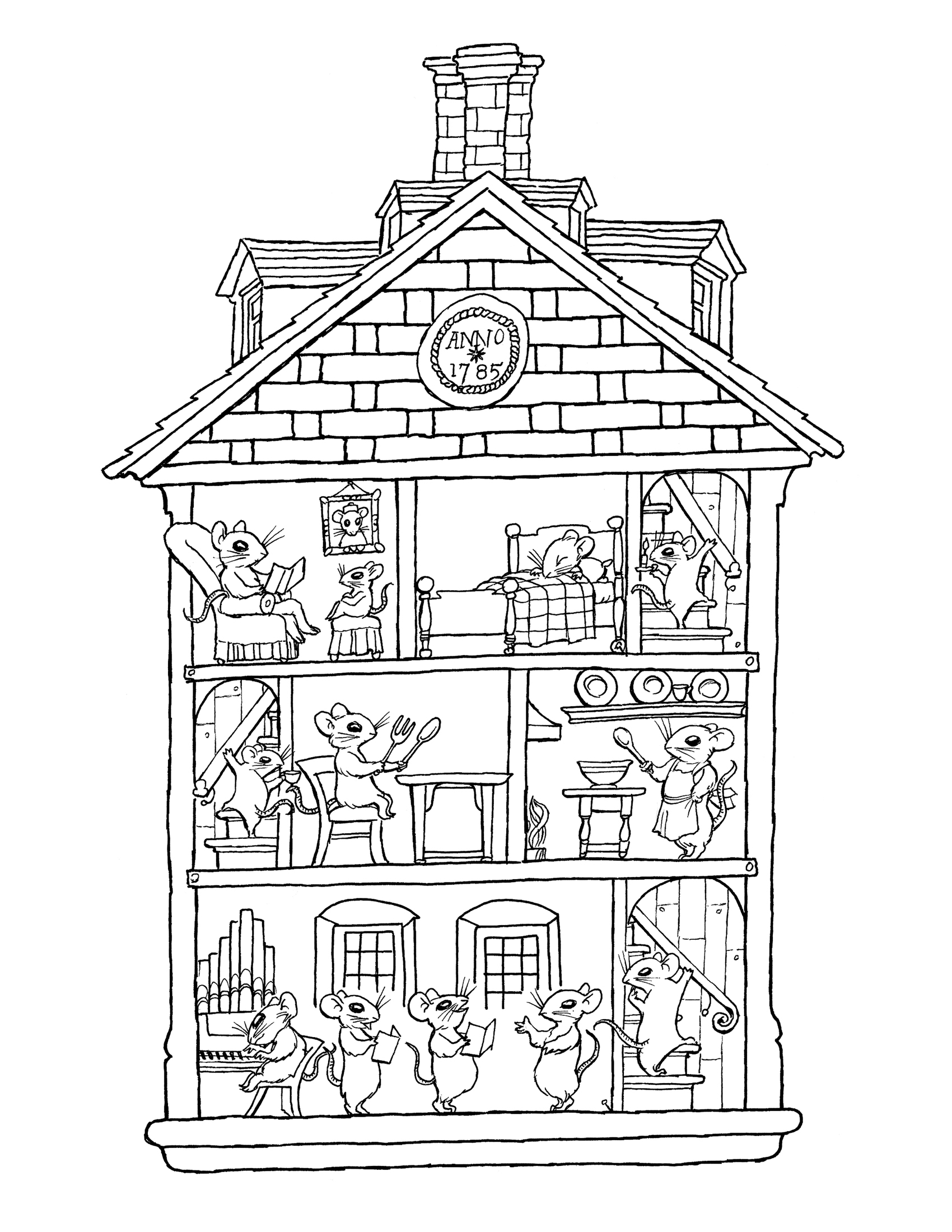 House coloring page coloring pages wallpaper 1700x2200
