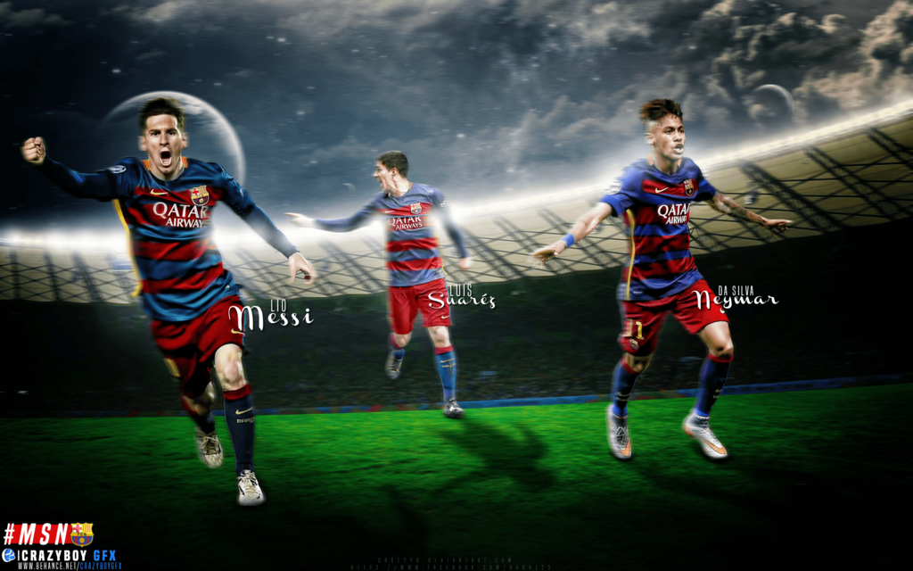 Messi Suarez Neymar [MSN] by CrazyyB 1024x640