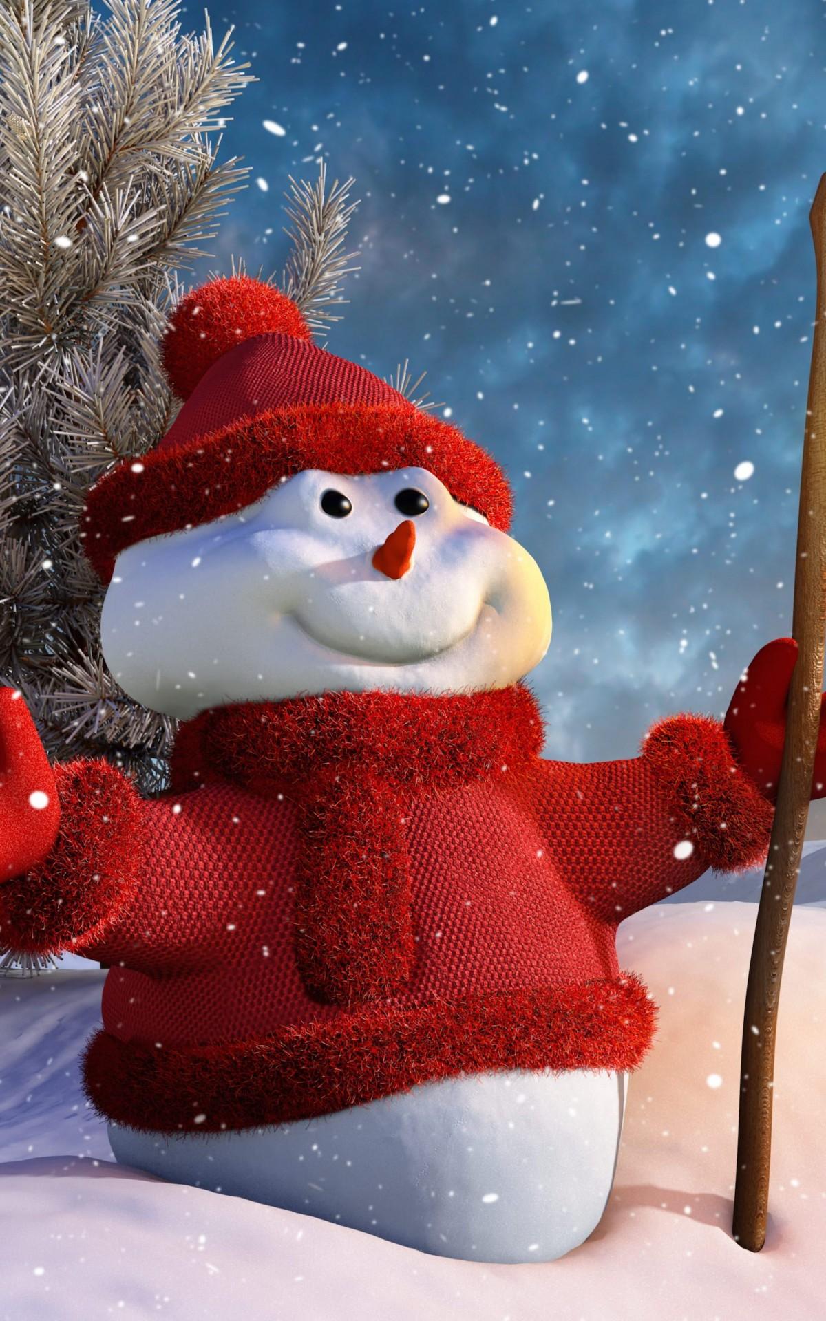 Christmas Snowman Wallpaper for Amazon Kindle Fire HDX 1200x1920