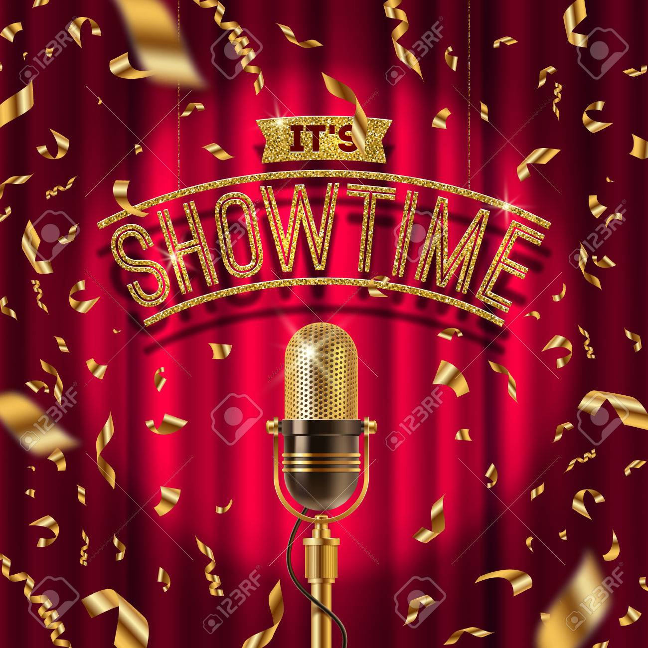 Its Showtime Golden Signboard And Retro Microphone On Stage 1300x1300