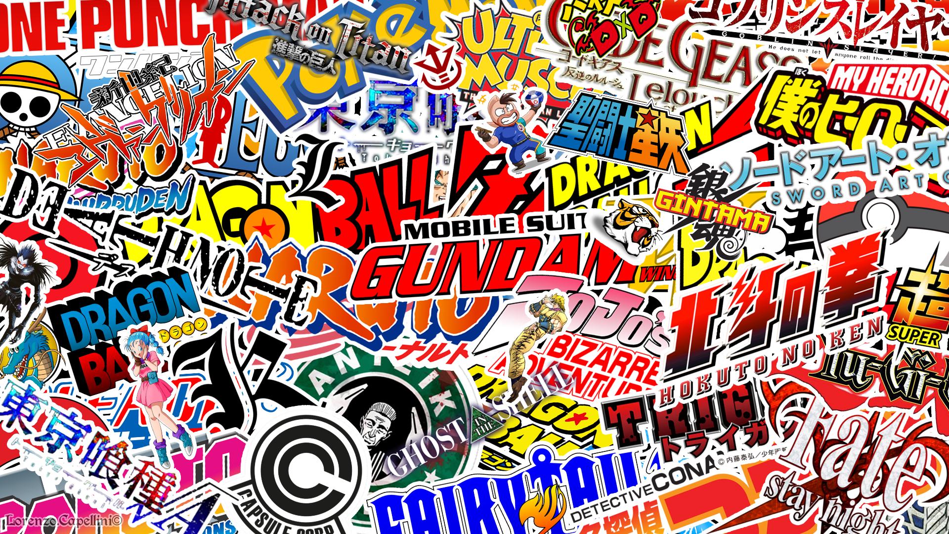 Anime logos Wallpaper sticker bomb style 19201080 Animewallpaper 1920x1080