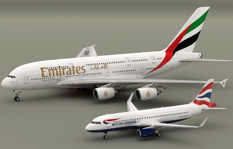 Wallpaper models Airbus A320 British Aiways Airbus A380 Emirates 1332x850