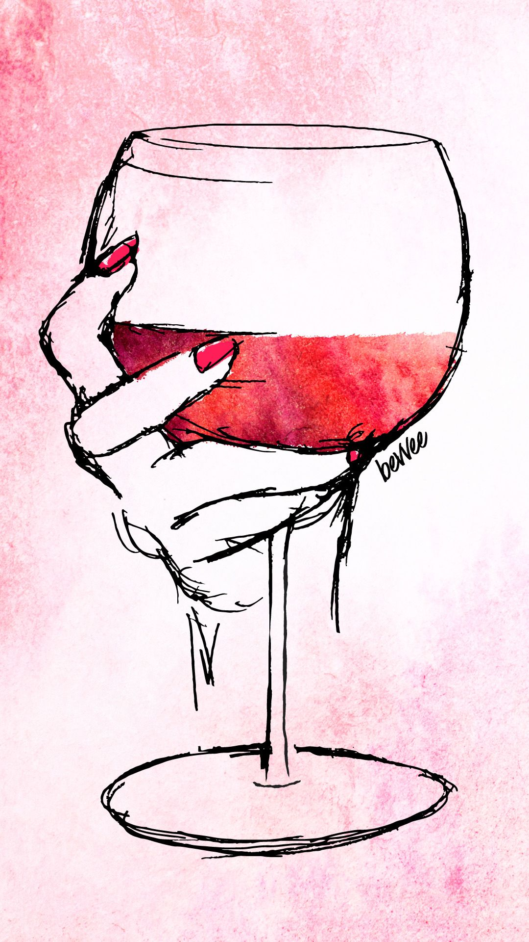 Watercolor Wine Digital Downloads Wine glass drawing Wine 1080x1920