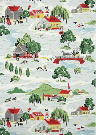 Vintage Wallpaper Country Farm Kitchen For the Home Pinterest 410x575
