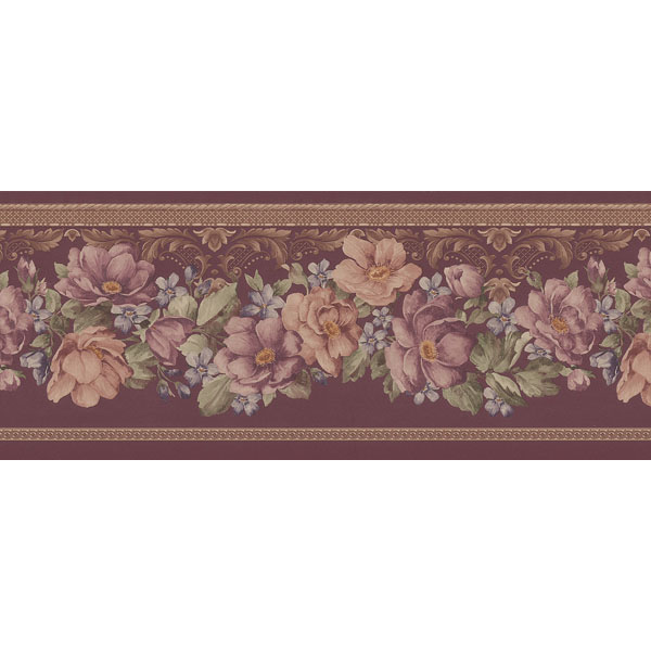 451 1601 Burgundy Floral Scrolled Trail   Brewster Wallpaper Borders 600x600