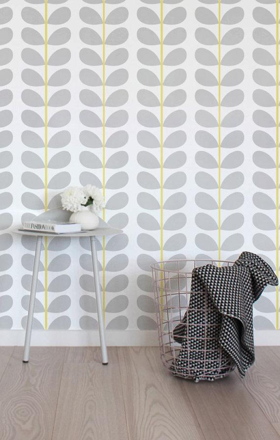 Peel and stick vinyl wallpaper   Leaf pattern print   113 Snow 570x896
