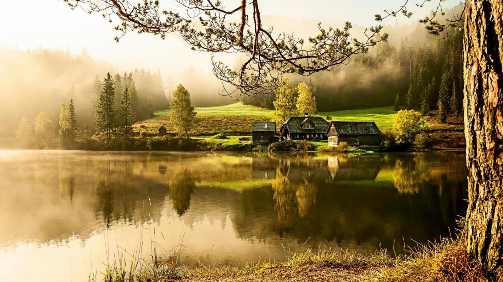 fond dcran maison de campagne lac le matin au calme de beaux 1600x900