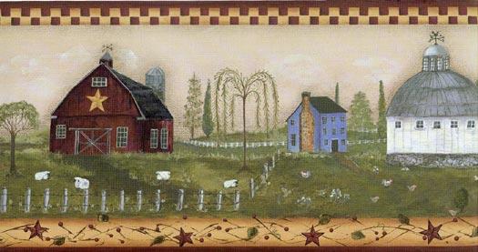 Free Download Primitive Country Scene Wallpaper Border