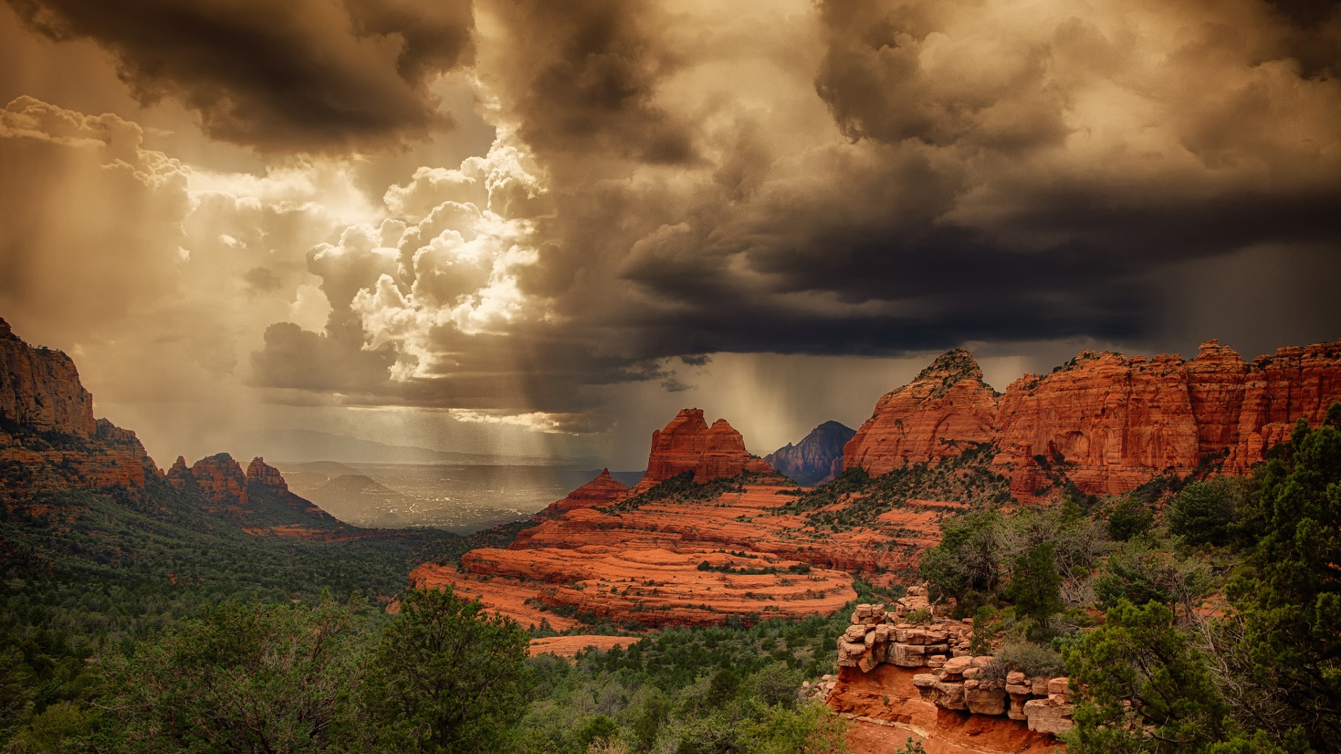 Desktop wallpapers Storm clouds over the red rocks of Sedona Arizona 1920x1080