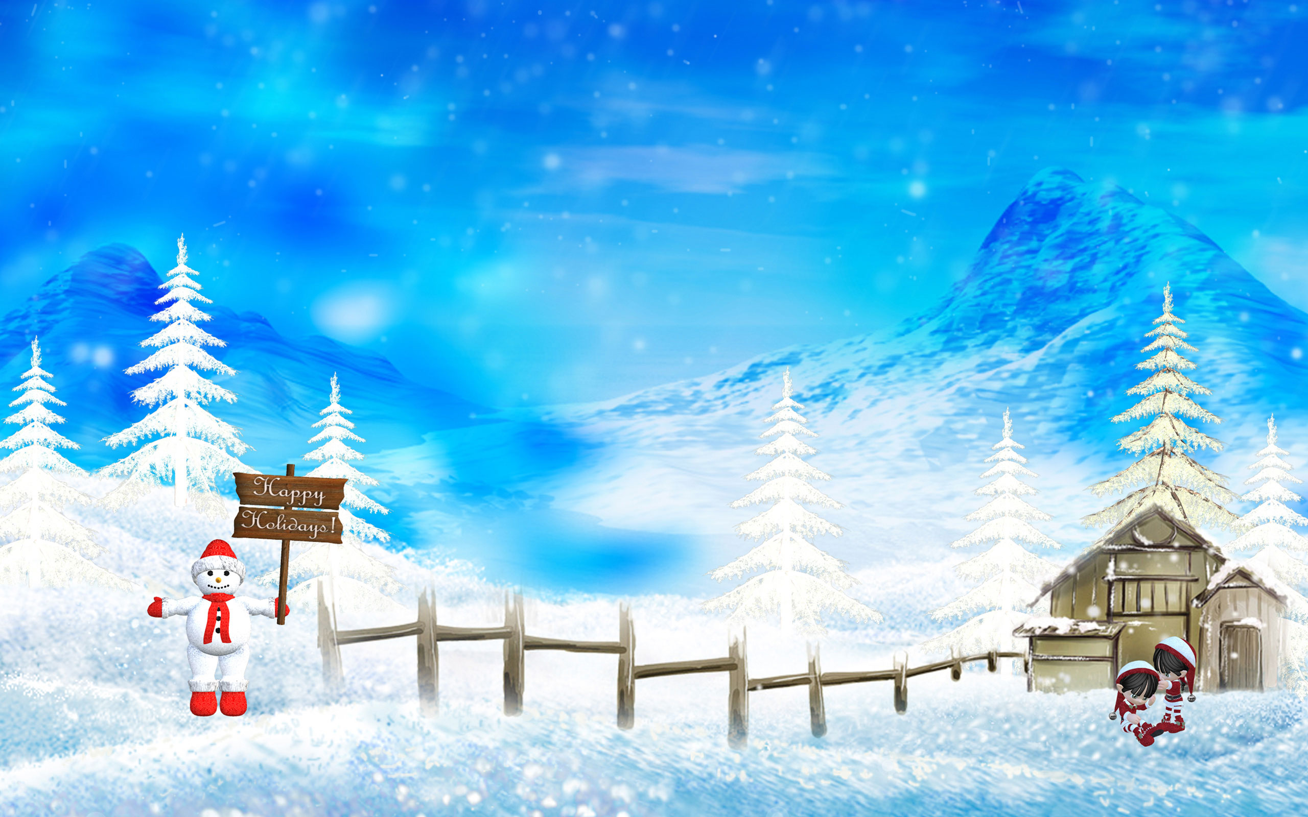 Happy Winter Christmas Holidays Wallpapers HD Wallpapers 2560x1600