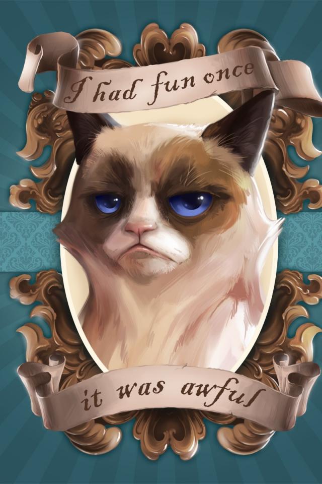 Download Wallpaper 640x960 grumpy cat paintings portraits iPhone 4S 640x960