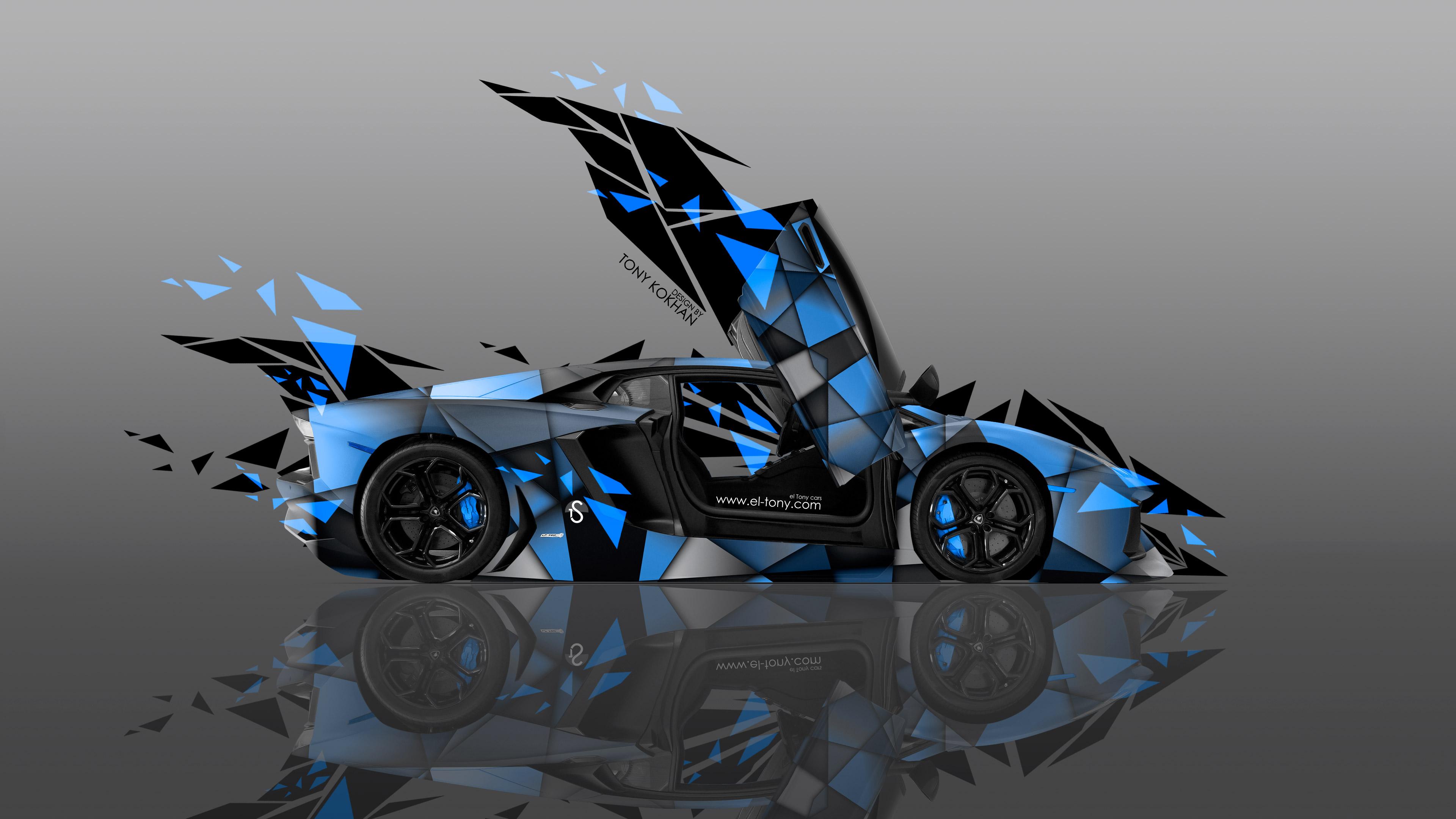 4K Lamborghini Aventador Side Transformer Abstract Car 2014 El Tony  3840x2160