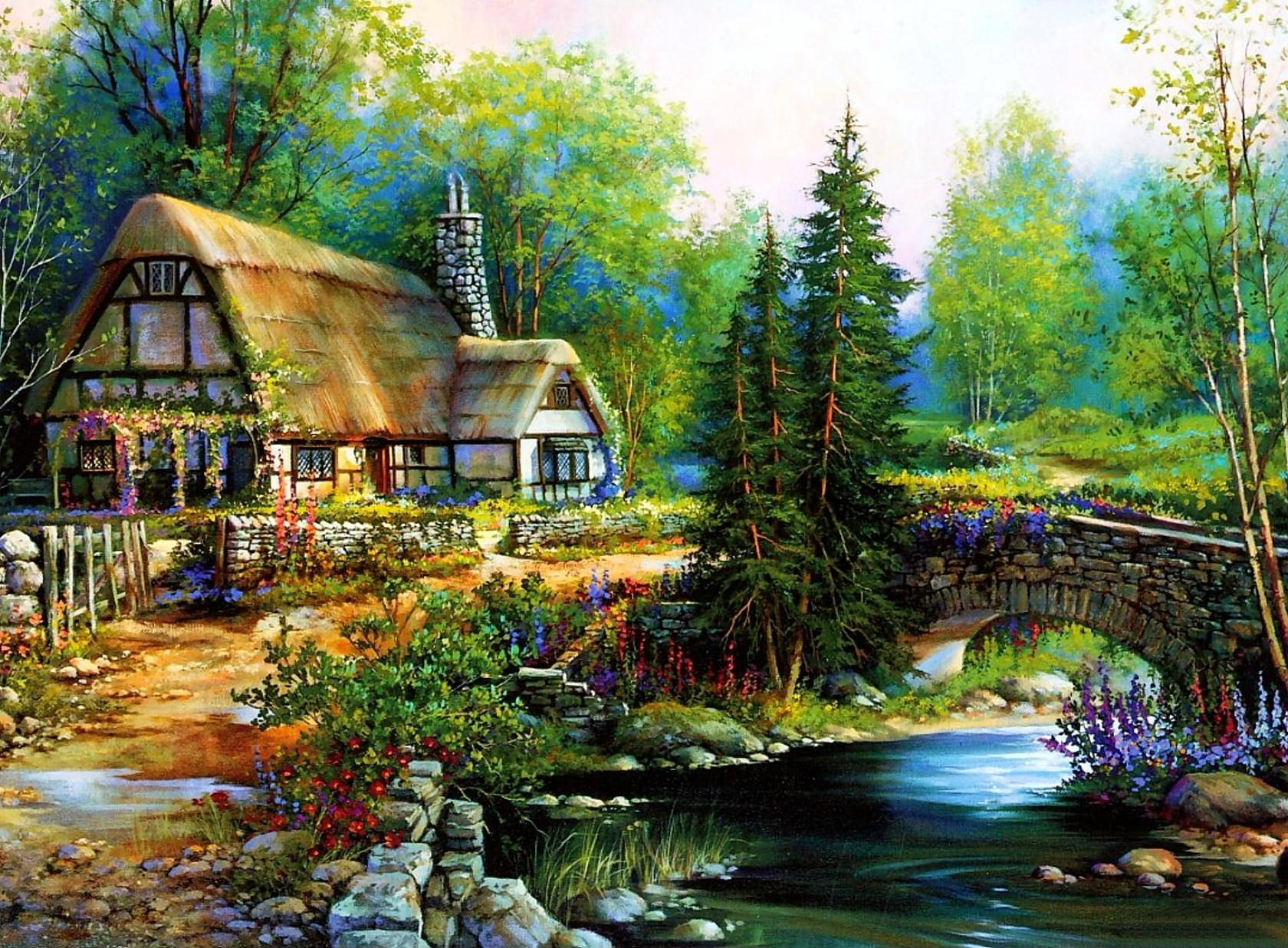 44 Cottage In The Woods Wallpaper On Wallpapersafari