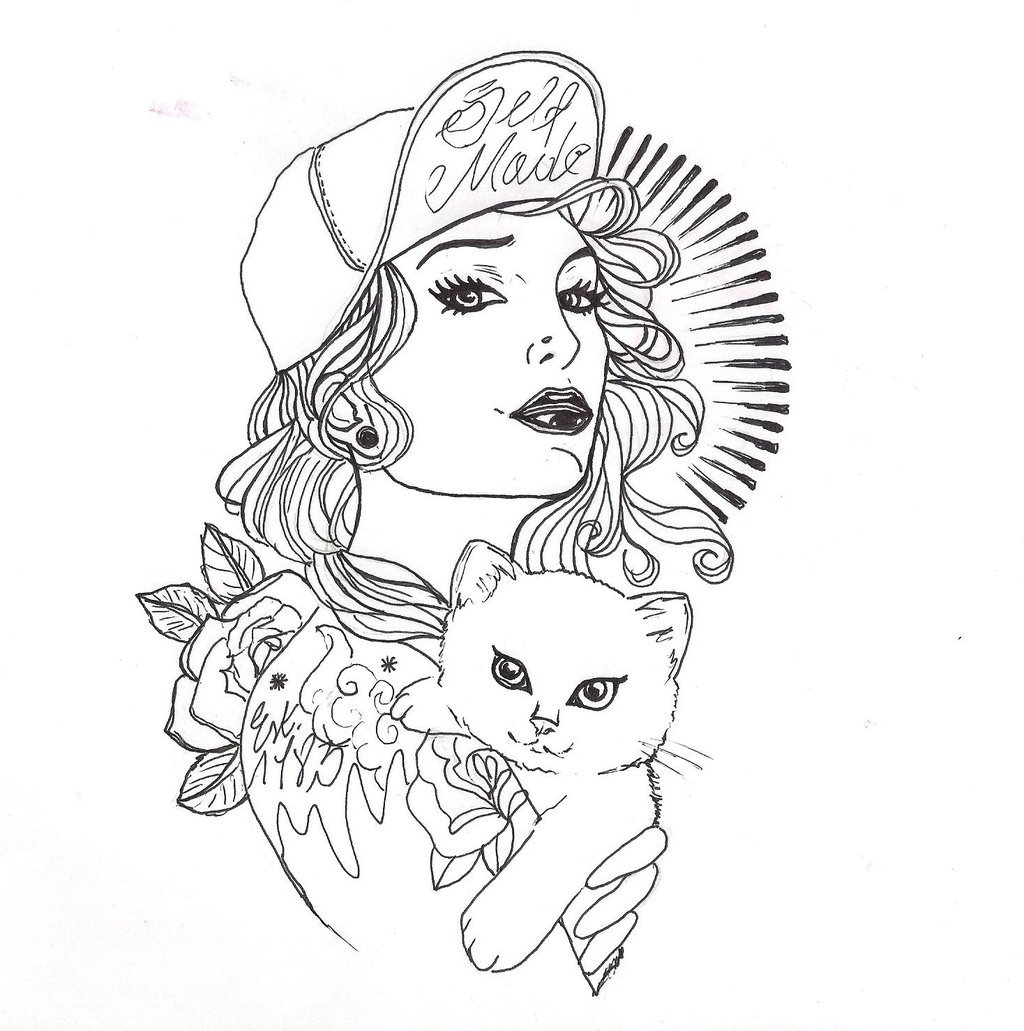 Tattoo Outlines For Girls: Tattooed Pin Up Girl Wallpapers
