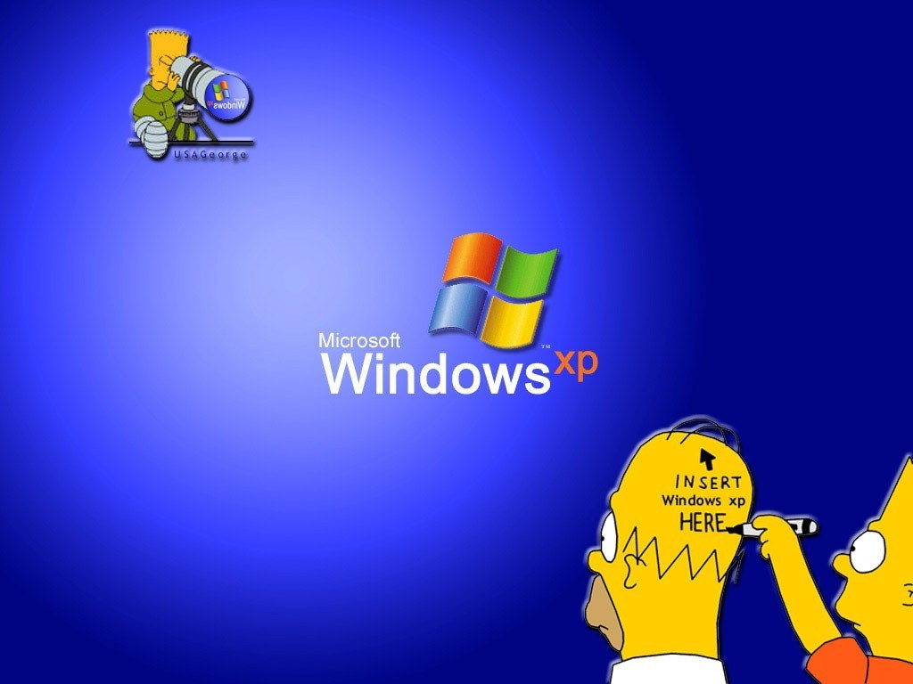 Homer Simpson In Windows Xp Wallpaper 1024x768