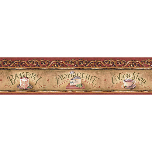 Blue Mountain Bakery Scroll Wallpaper Border Brown and Red   Walmart 500x500