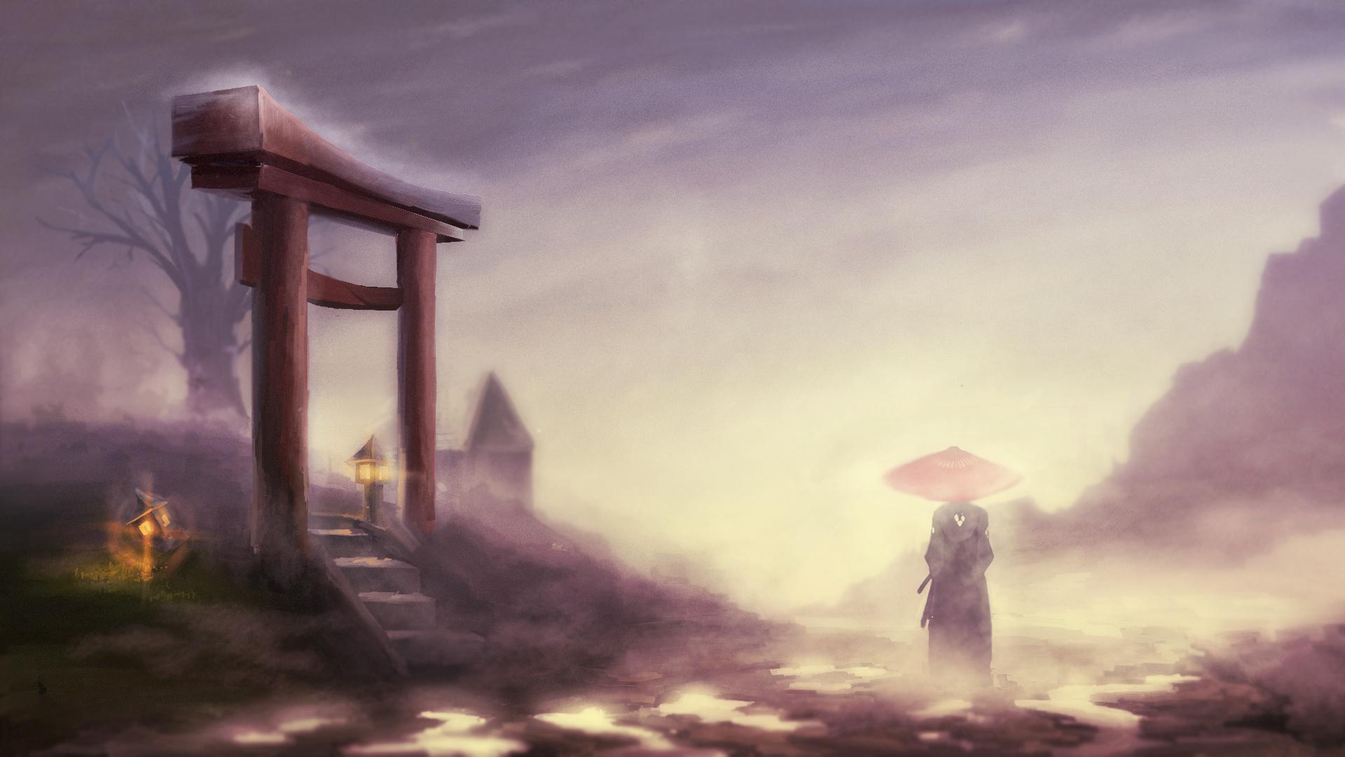 samurai Champloo Landscape Gates Jin Fog Wallpapers HD 1920x1080