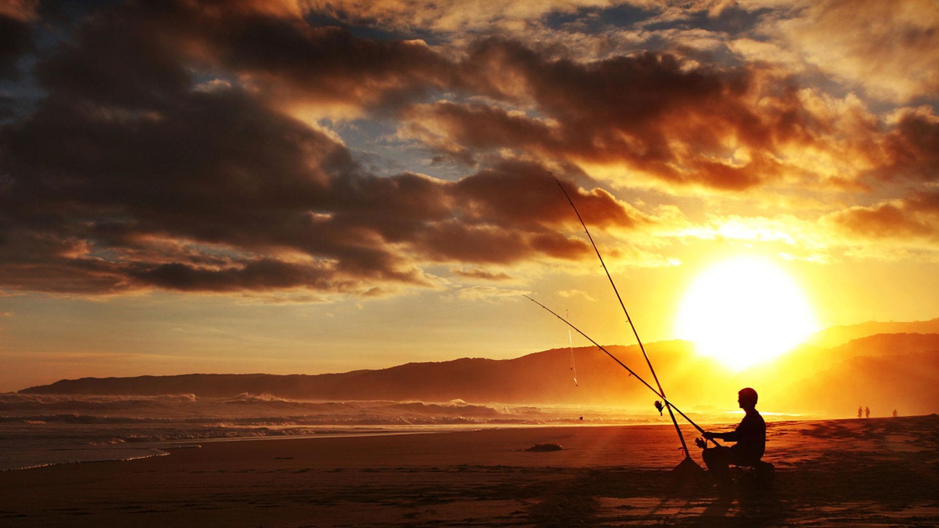 Man Fishing On Beach In Sunset Hd Wallpaper Wallpaper List 1920x1080