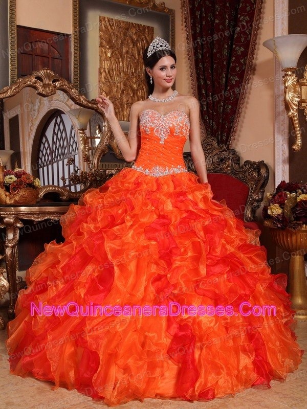 and beading design orange quinceanera dress with ruffles g121html 600x800