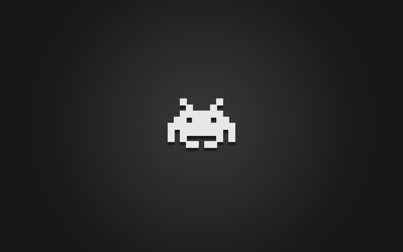 Clean and dark Space Invaders desktop wallpaper 1600x1000