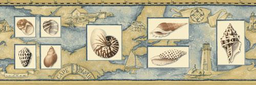 Nautical Sea Shell Wall Border   Beach Room Decor Wallpaper Roll 500x167