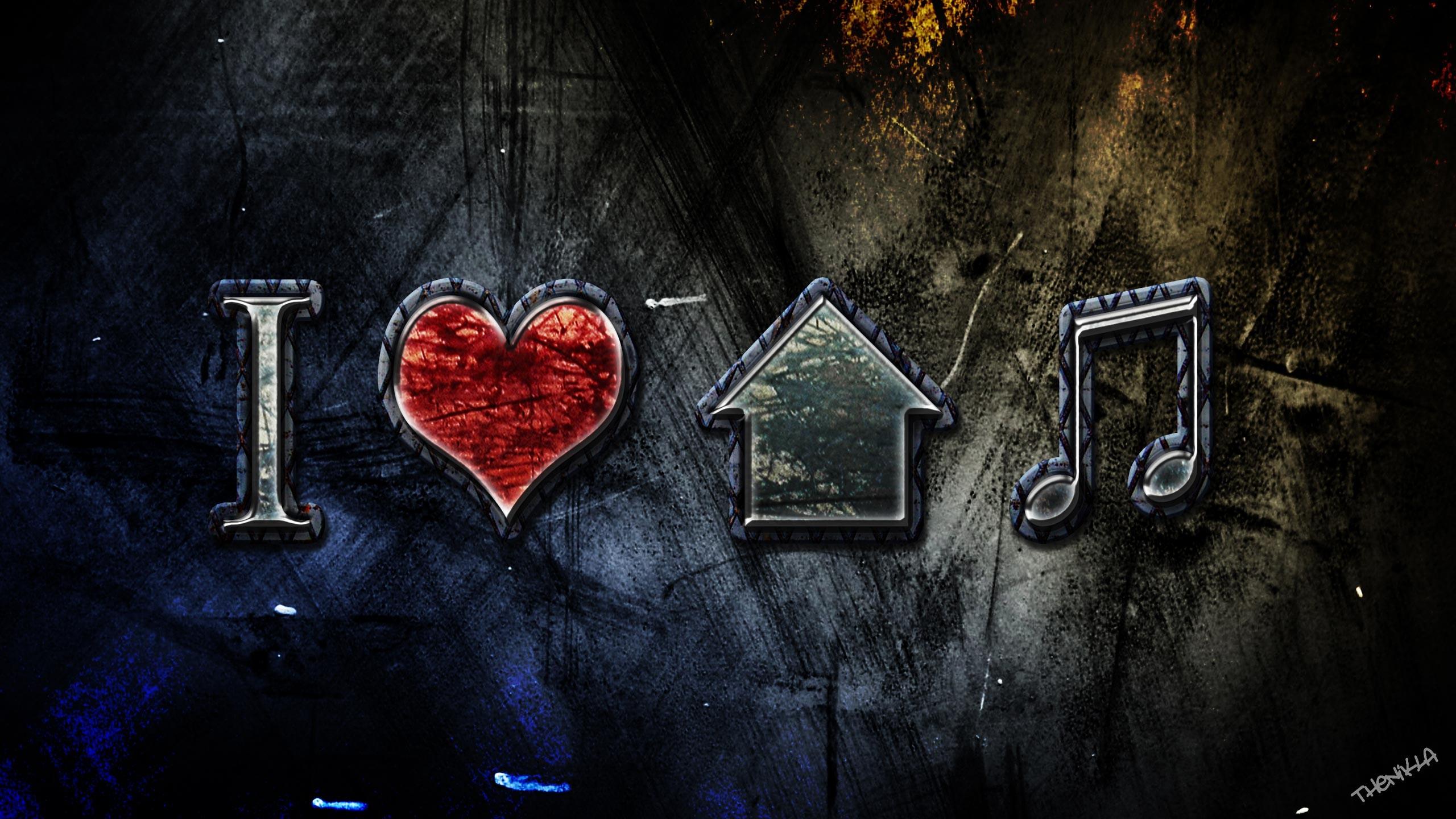 I Love House Music Wallpaper 2560x1440
