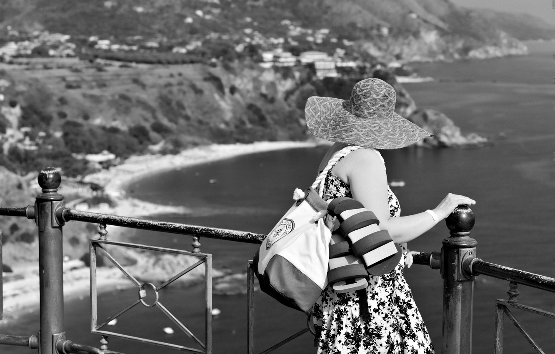 Wallpaper sea woman bay cliff overlook images for desktop 1332x850