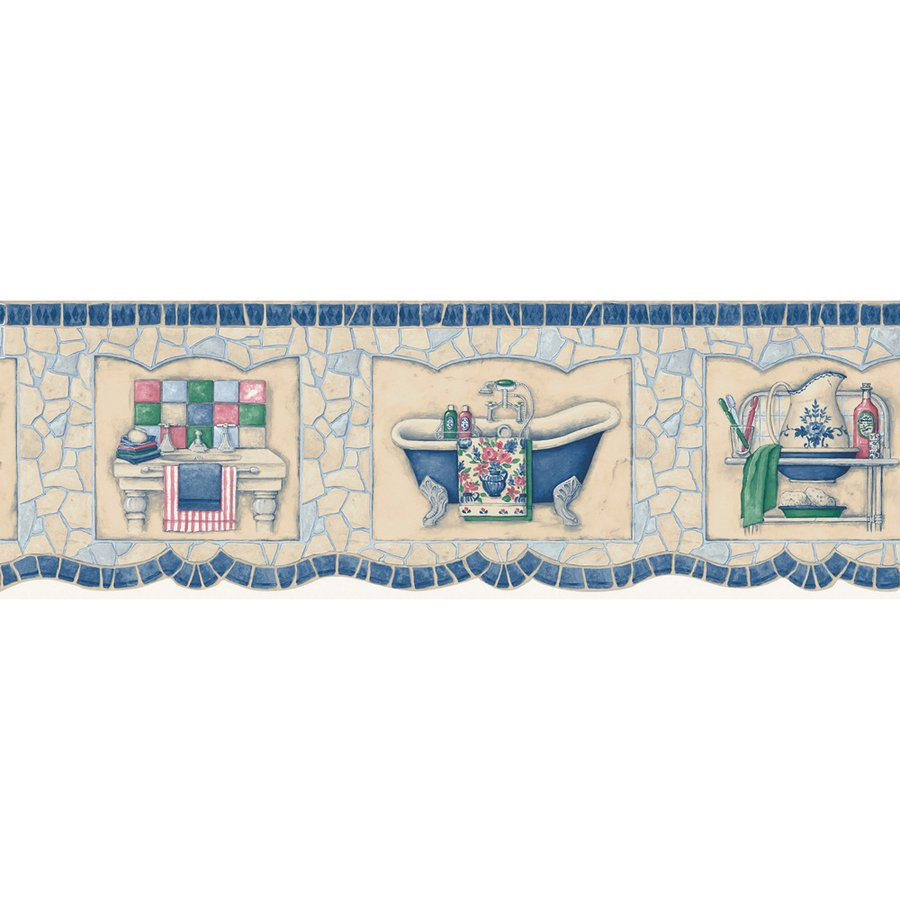 Blue Mosaic Bath Tub Prepasted Wallpaper Border at Lowescom 900x900