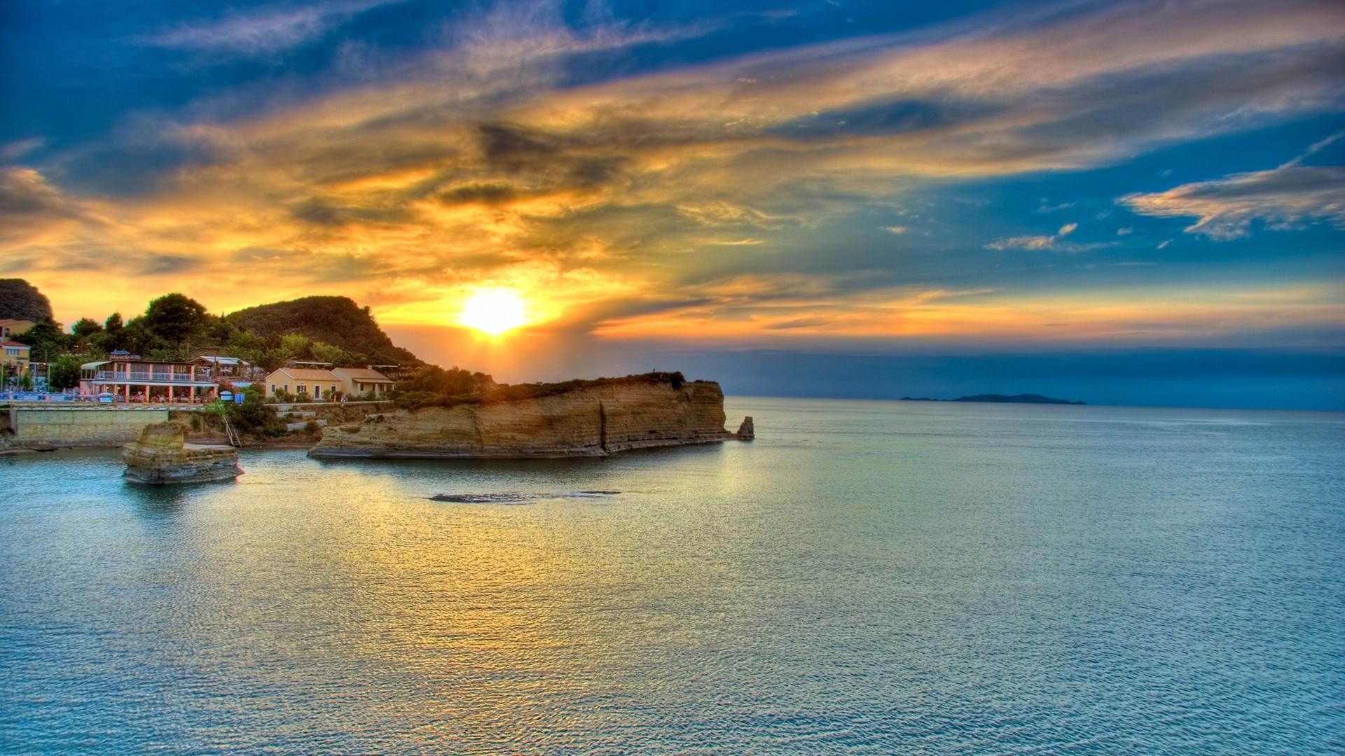 Sunset in Corfu Island Greece wallpaper 1920x1080 1080p 1920x1080