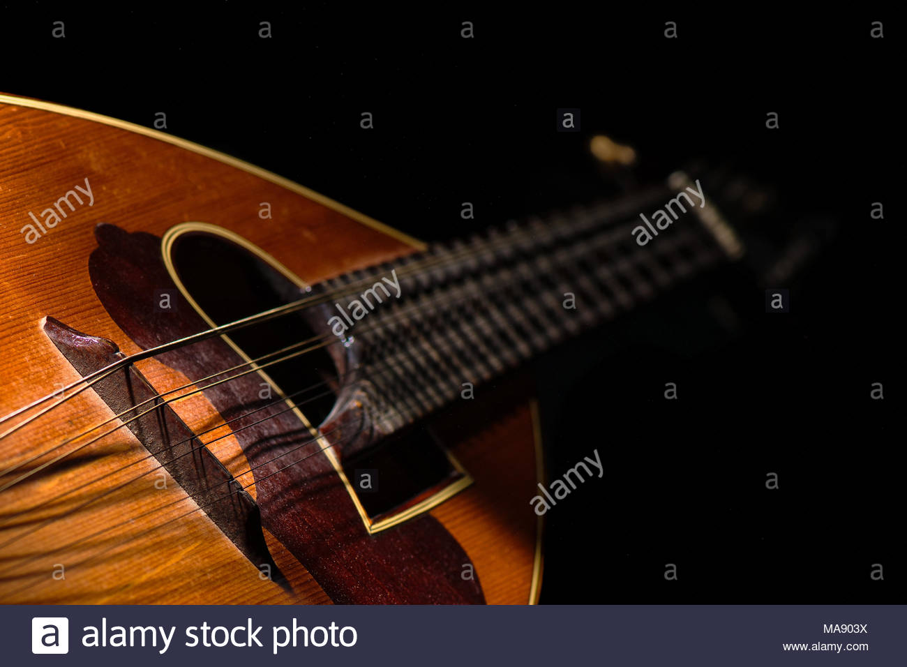 Detail of a Italian mandolin with black background Stock Photo 1300x956