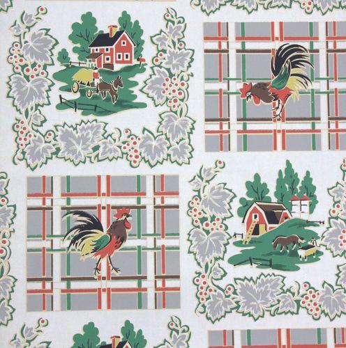 1940S Vintage Kitchen Wallpaper Farm Scenes RoostersVintage Kitchen 496x500