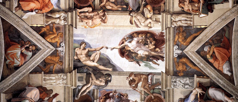 Michelangelo vs Leonardo da Vinci images Ceiling of the Sistine 1240x530