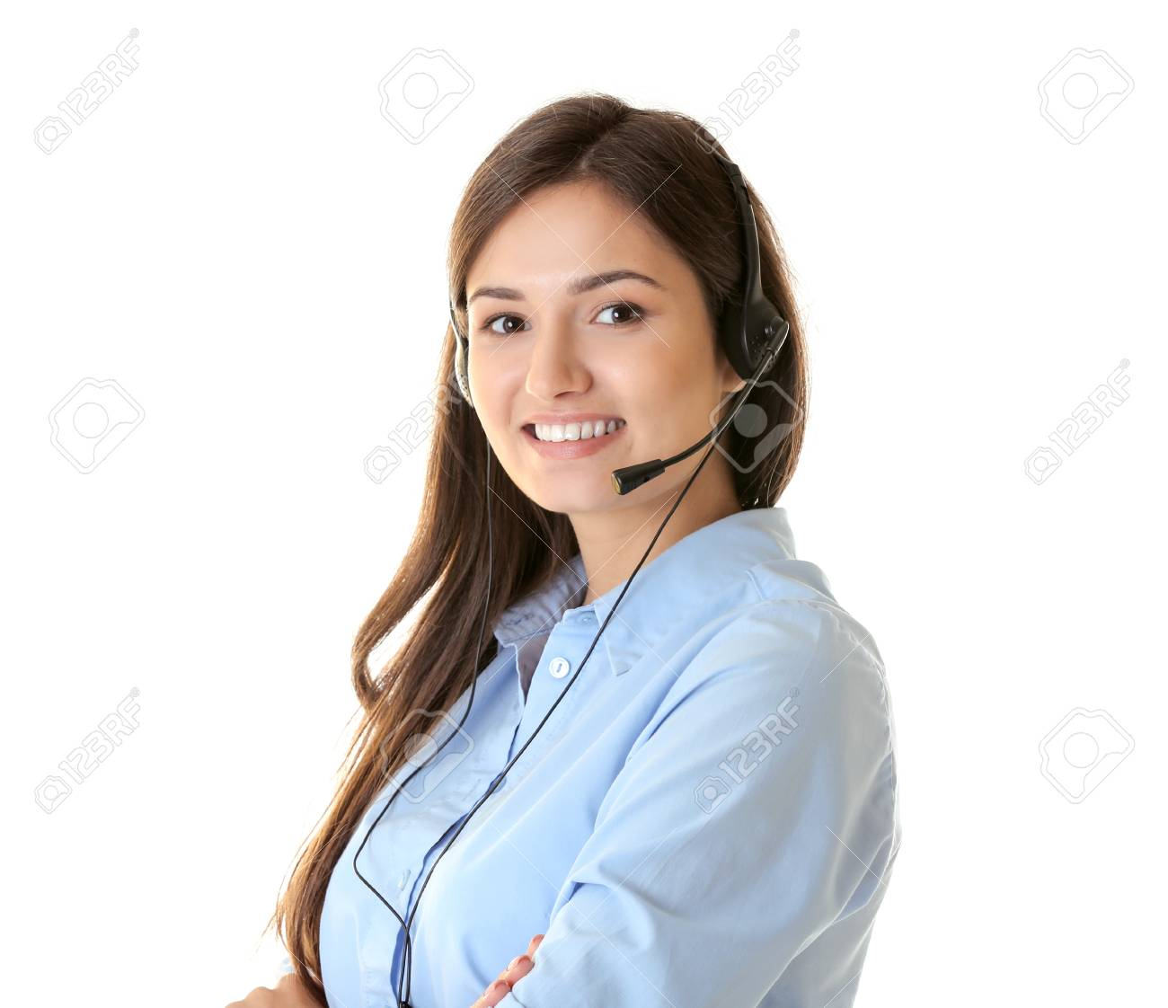 Call Center Operator On White Background Stock Photo Picture And 1300x1122