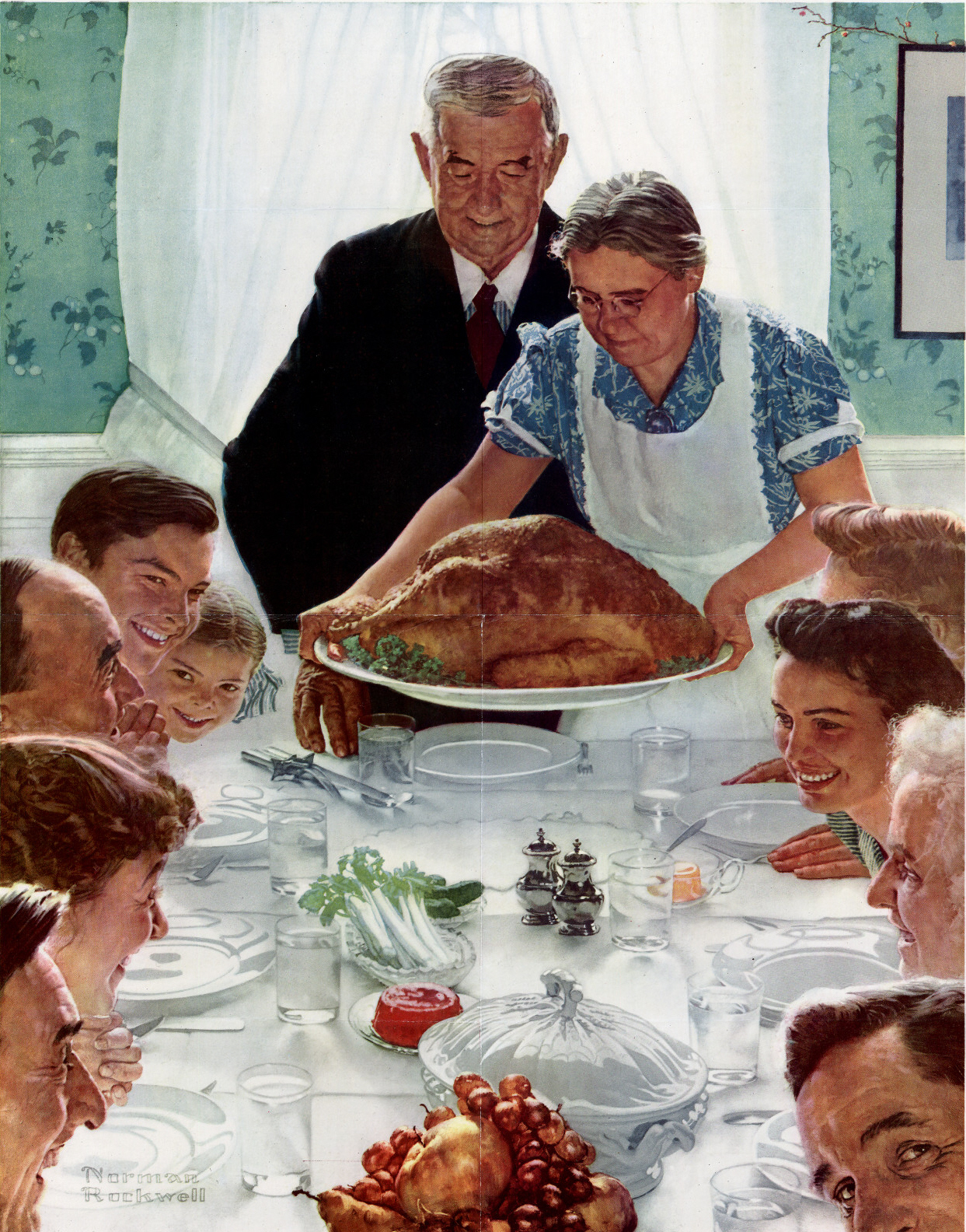 Norman rockwell thanksgiving wallpaper wallpapersafari for Art and appetite american painting culture and cuisine