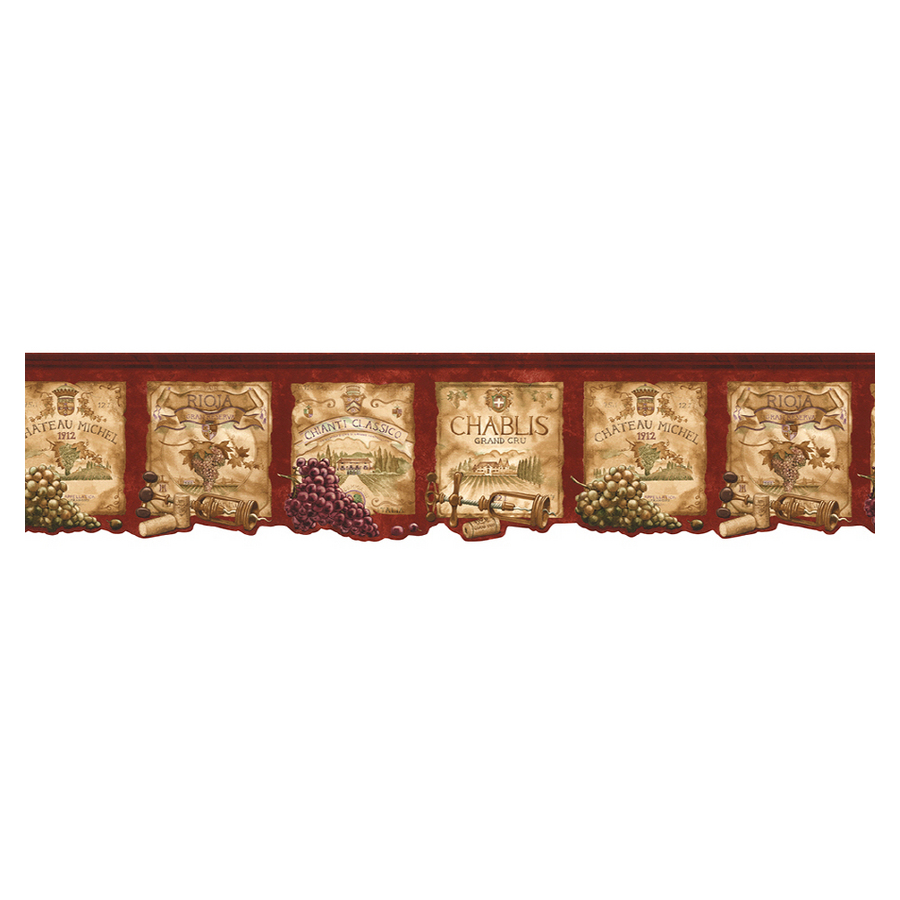 Shop Norwall Kitchen Style Wine Label Wallpaper Border at Lowescom 900x900