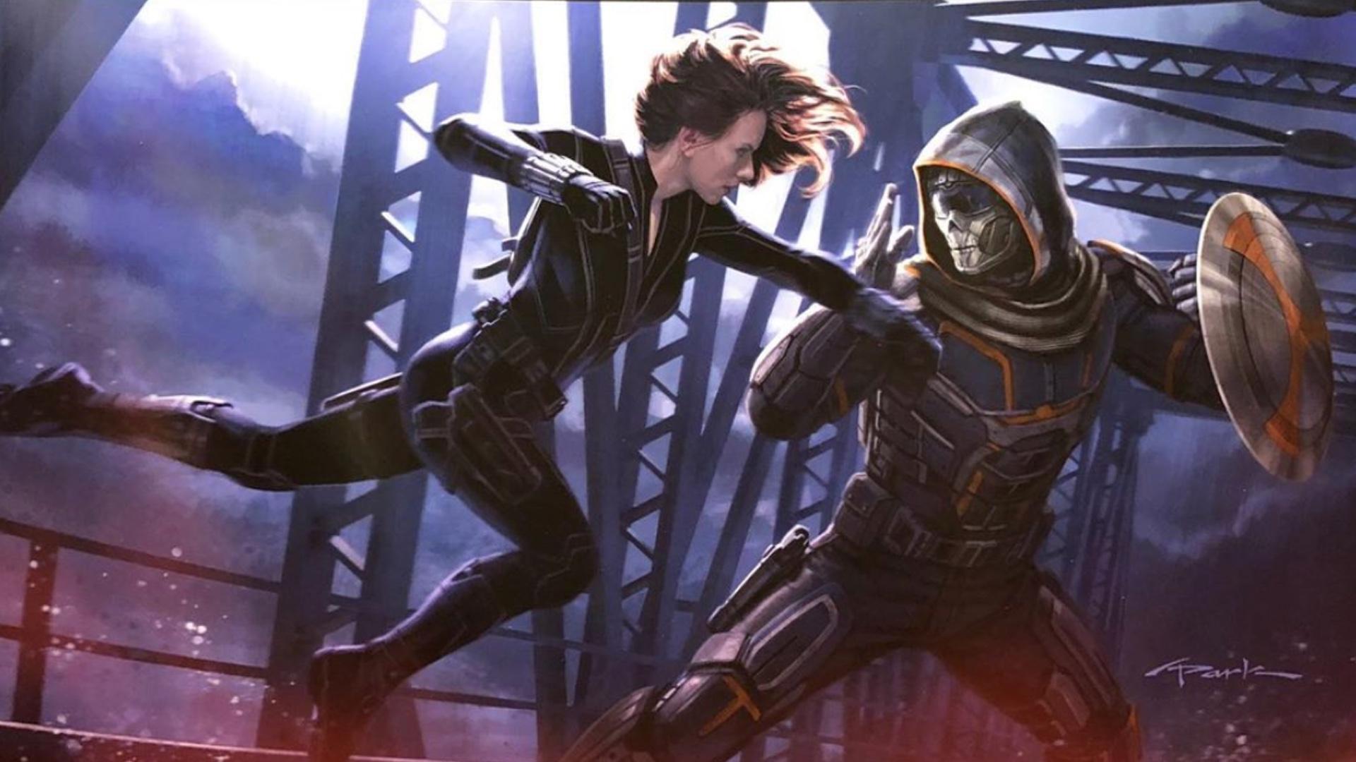 BLACK WIDOW Movie Poster Art Shows Black Widow Fighting Taskmaster 1920x1080