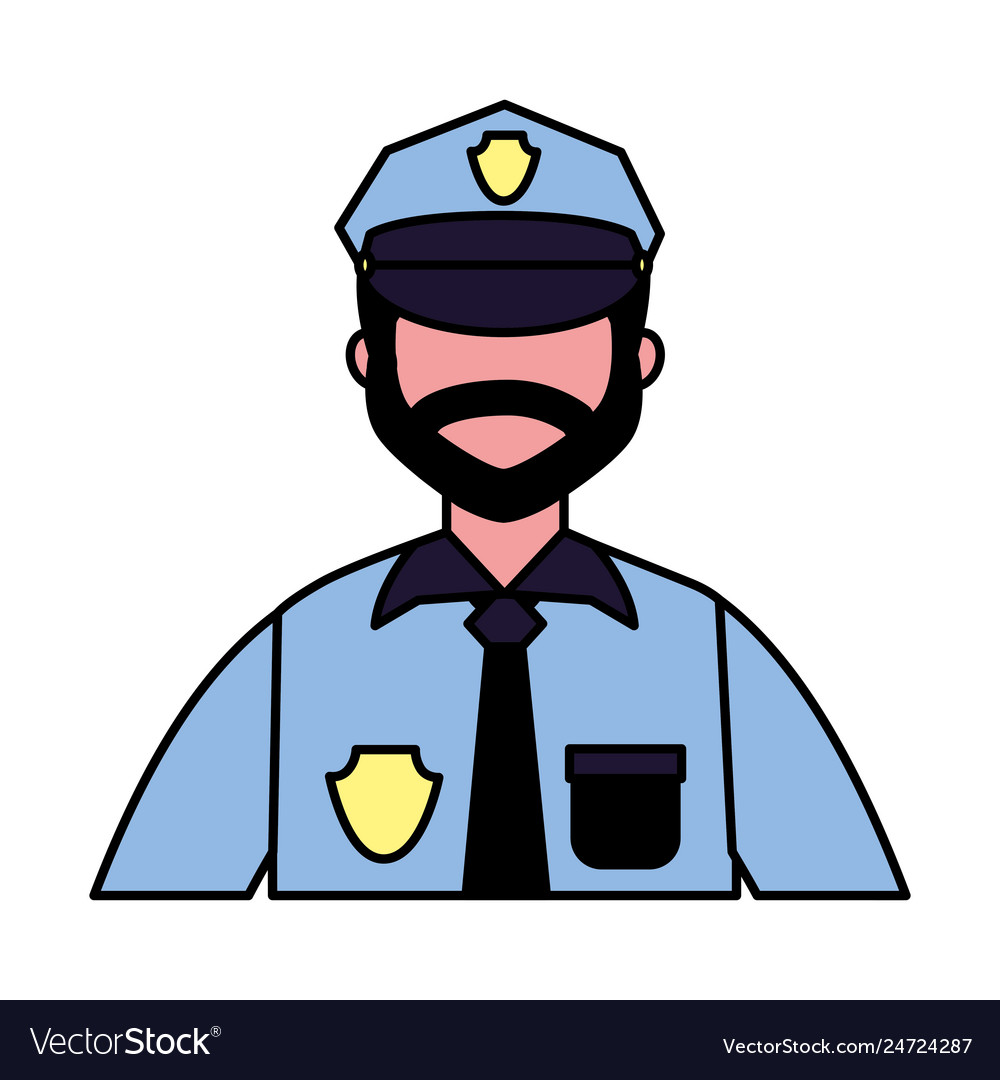 Policeman employee labor on white background Vector Image 1000x1080