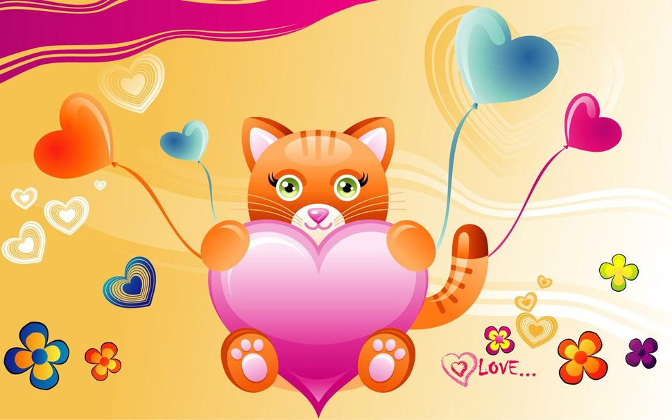 Valentine cat wallpaper   ForWallpapercom 969x606