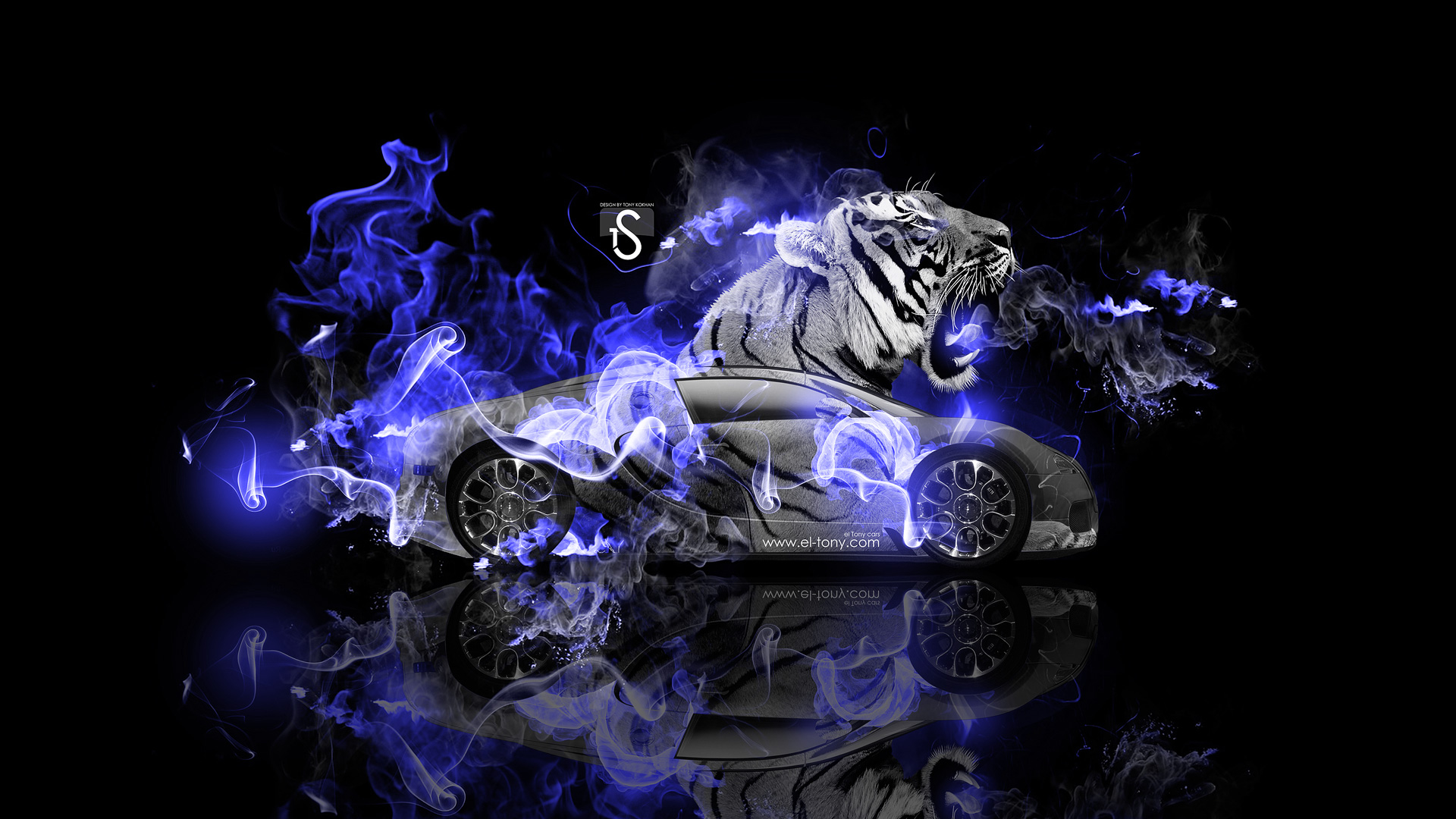 Bugatti Veyron Fantasy Tiger Blue Fire Car 2014 HD Wallpapers design 1920x1080