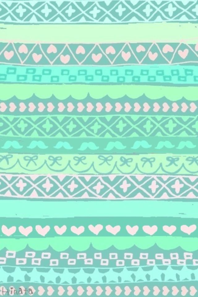 Wallpapers Iphone Backgrounds Mint Green Aztec Styles Blue Green 640x960