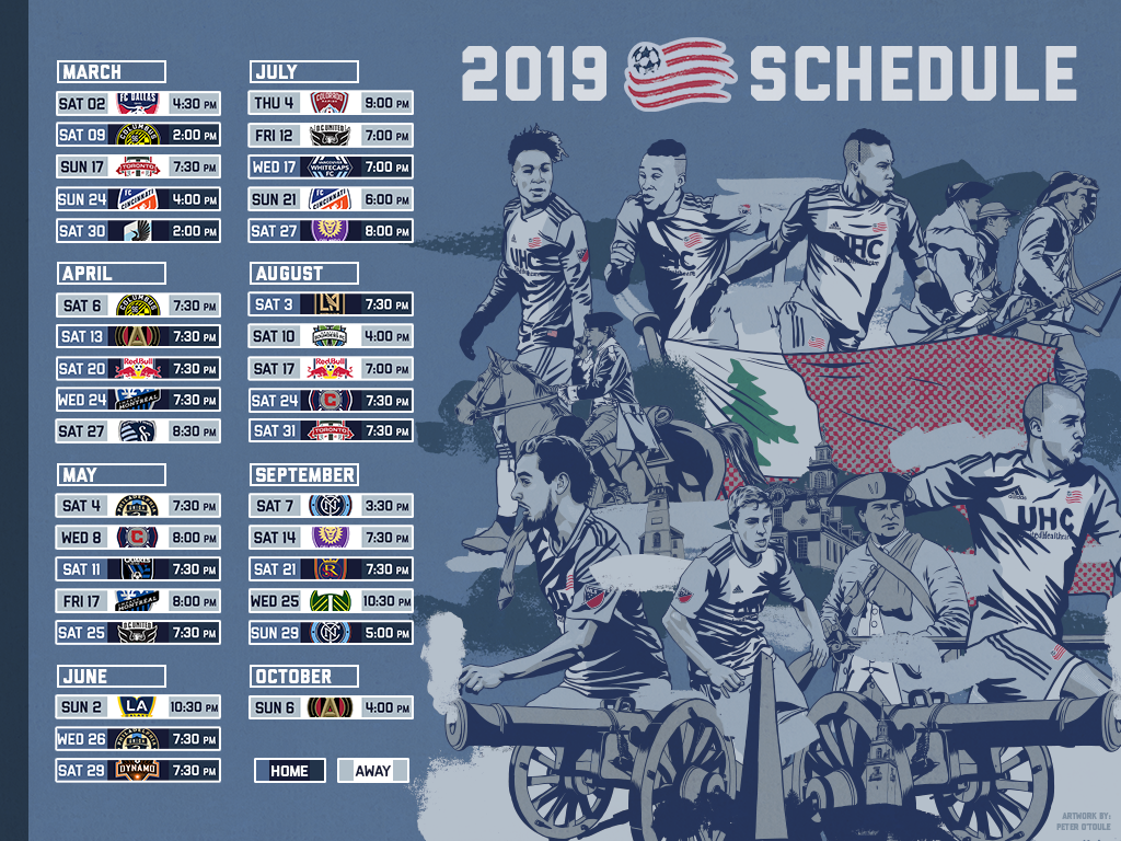 2019 Schedule Wallpapers New England Revolution 1024x768