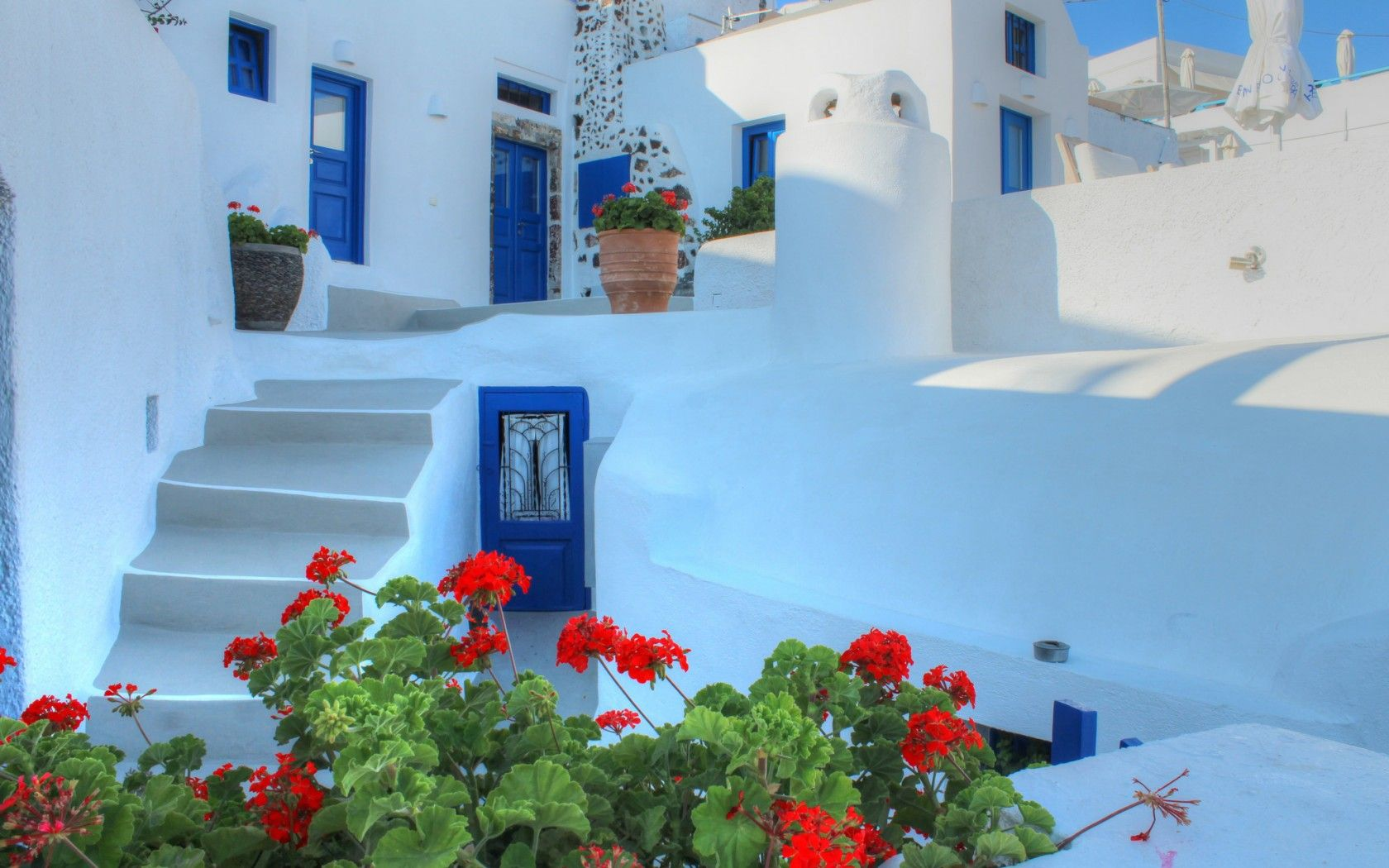 Santorini Greece Wallpaper Greece santorini house stairs 1680x1050