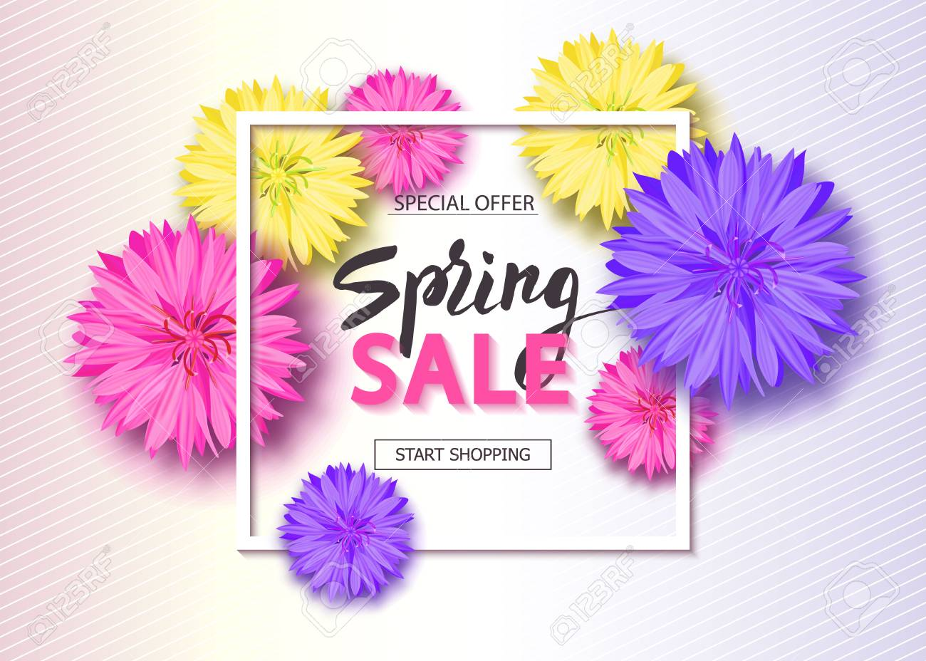 Spring Sale Background With Flowers Season Discount Banner 1300x928