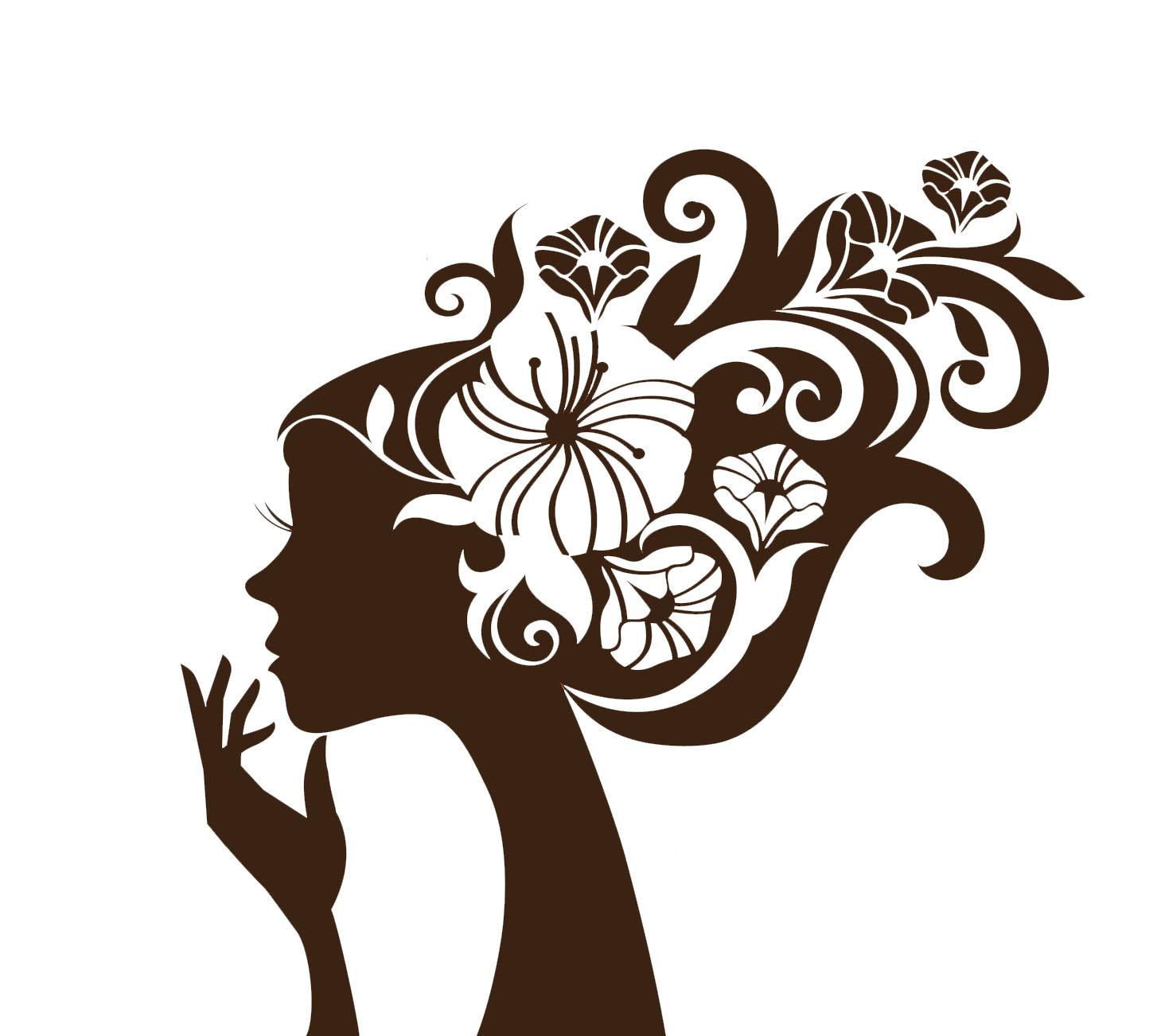Pretty Flower Girl Wall Sticker Decal Art 1459x1302