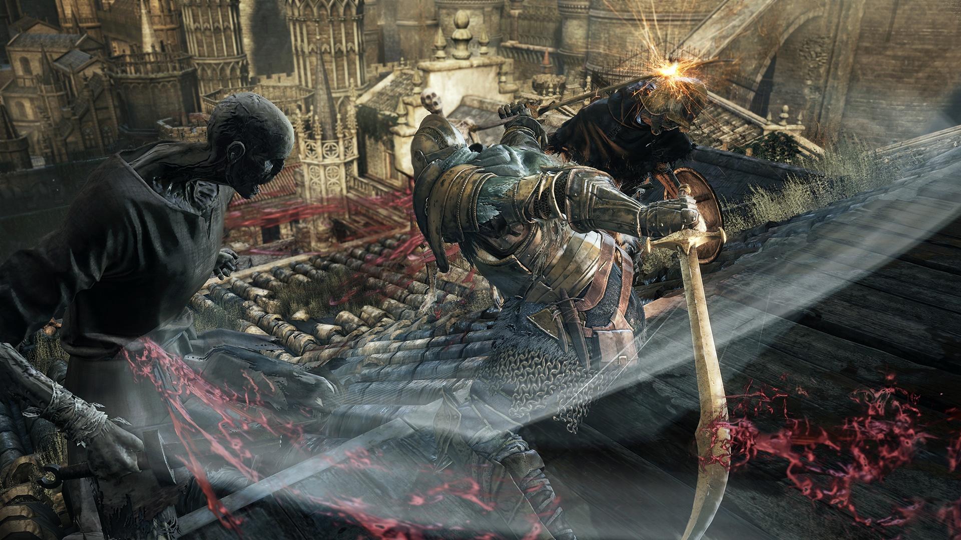 Dark Souls 3 Warrior Fighting HD Wallpaper 1920x1080